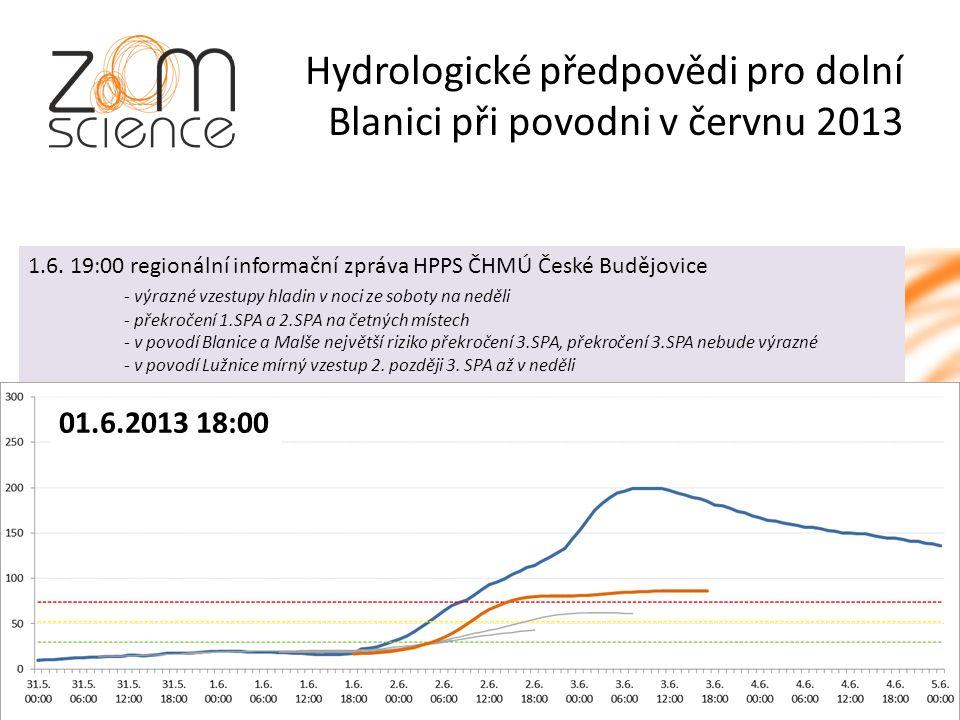 Hydrologické předpovědi pro dolní Blanici při povodni v červnu 2013 01.6.2013 18:00 1.6.