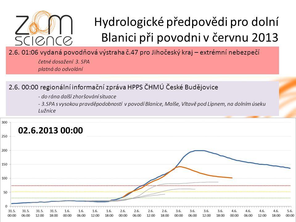 Hydrologické předpovědi pro dolní Blanici při povodni v červnu 2013 2.6.