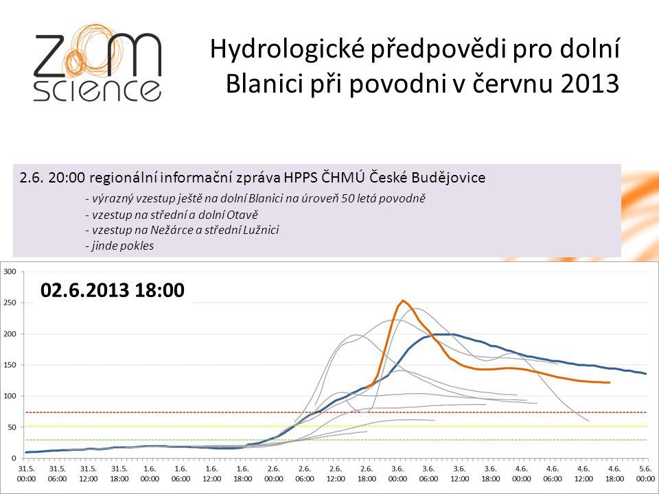 Hydrologické předpovědi pro dolní Blanici při povodni v červnu 2013 02.6.2013 18:00 2.6.