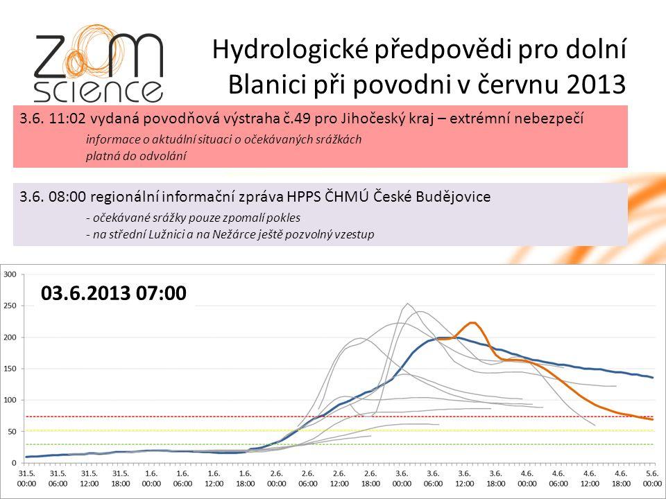 Hydrologické předpovědi pro dolní Blanici při povodni v červnu 2013 3.6.