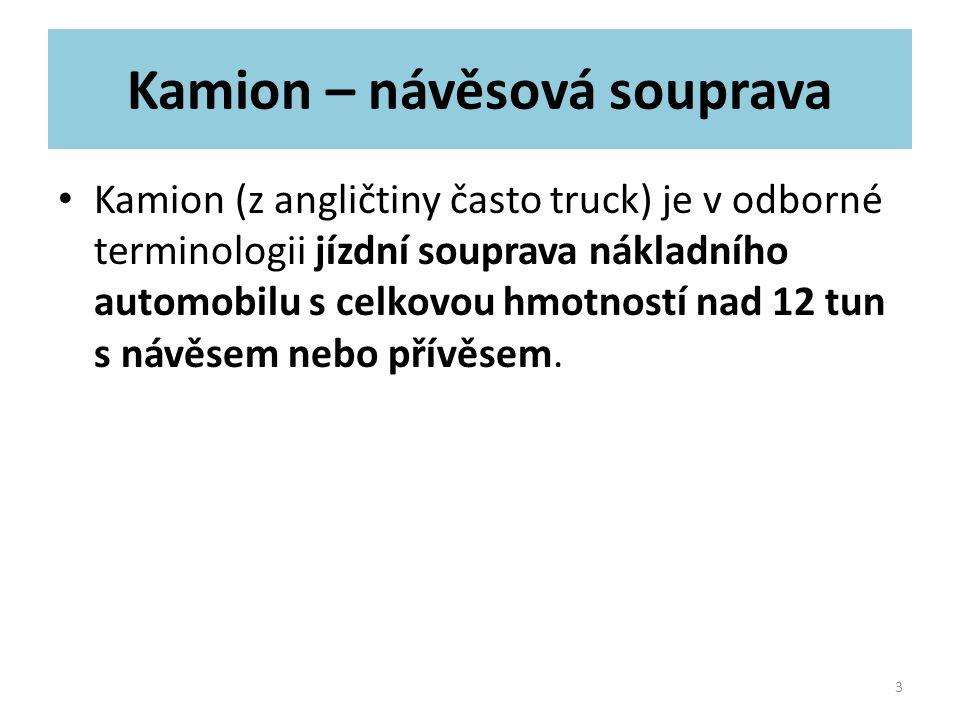 Rozměry kamionu Evropský typ kamionu /souprava/ má tyto stanovené rozměrové limity: výška 4,0 m šířka 2,55 m ( u izotermické nástavby 2,6 m) délka v závislosti typu soupravy - návěs 16,5 m, - tandem 18,75 m, - vlek až do 20 metrů 4