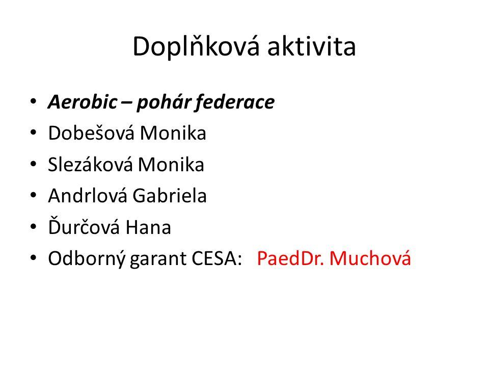Doplňková aktivita Aerobic – pohár federace Dobešová Monika Slezáková Monika Andrlová Gabriela Ďurčová Hana Odborný garant CESA: PaedDr.