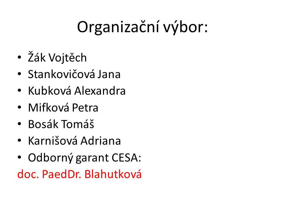 Organizační výbor: Žák Vojtěch Stankovičová Jana Kubková Alexandra Mifková Petra Bosák Tomáš Karnišová Adriana Odborný garant CESA: doc.
