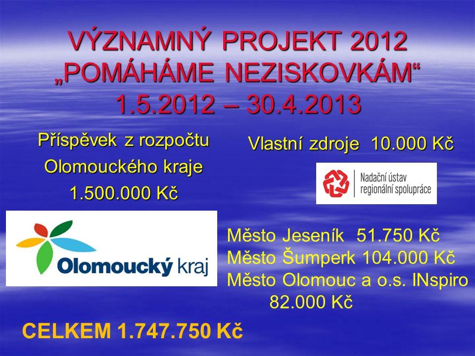"""VÝZNAMNÝ PROJEKT 2012 """"POMÁHÁME NEZISKOVKÁM"""" 1.5.2012 – 30.4.2013 Příspěvek z rozpočtu Olomouckého kraje 1.500.000 Kč Vlastní zdroje 10.000 Kč Město J"""