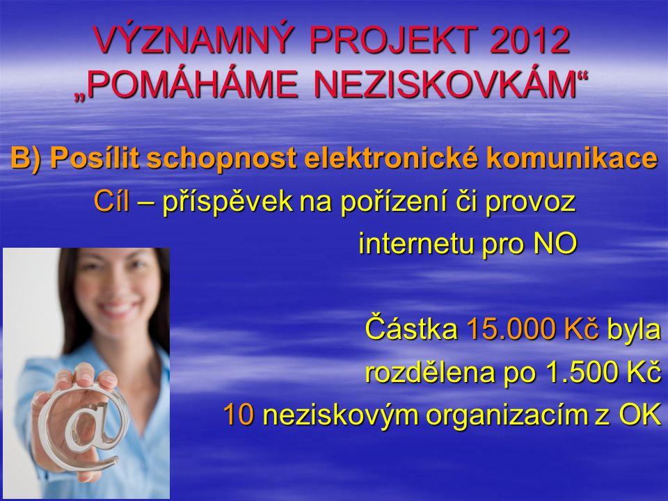 """VÝZNAMNÝ PROJEKT 2012 """"POMÁHÁME NEZISKOVKÁM"""" B) Posílit schopnost elektronické komunikace Cíl – příspěvek na pořízení či provoz internetu pro NO Částk"""