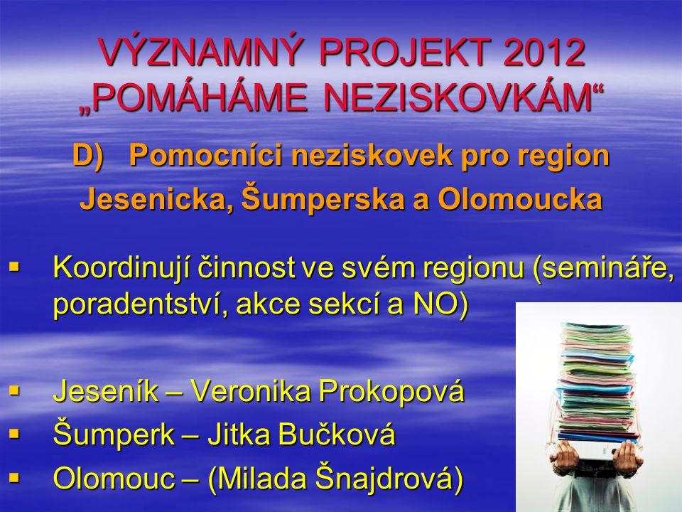 """VÝZNAMNÝ PROJEKT 2012 """"POMÁHÁME NEZISKOVKÁM E) SEMINÁŘE PRO NO F) Prezentace neziskového sektoru www.uno-ok.czwww.uno-ok.cz, sociální síť - facebook www.uno-ok.cz redakce@uno-ok.czredakce@uno-ok.cz (Langerová – web UNO) redakce@uno-ok.cz bulletin@uno-ok.czbulletin@uno-ok.cz (Beil – bulletin UNO) bulletin@uno-ok.cz sekretariat@uno-ok.czsekretariat@uno-ok.cz (Vystrčilová – UNO) sekretariat@uno-ok.cz"""