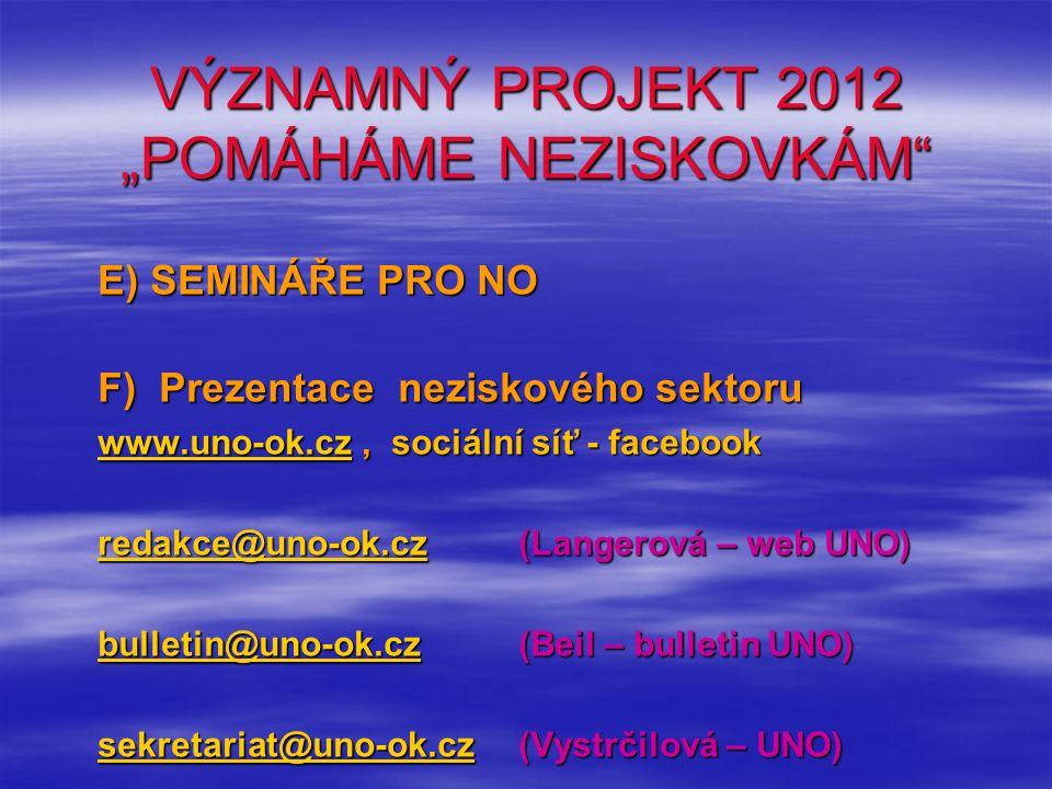 """VÝZNAMNÝ PROJEKT 2012 """"POMÁHÁME NEZISKOVKÁM"""" E) SEMINÁŘE PRO NO F) Prezentace neziskového sektoru www.uno-ok.czwww.uno-ok.cz, sociální síť - facebook"""