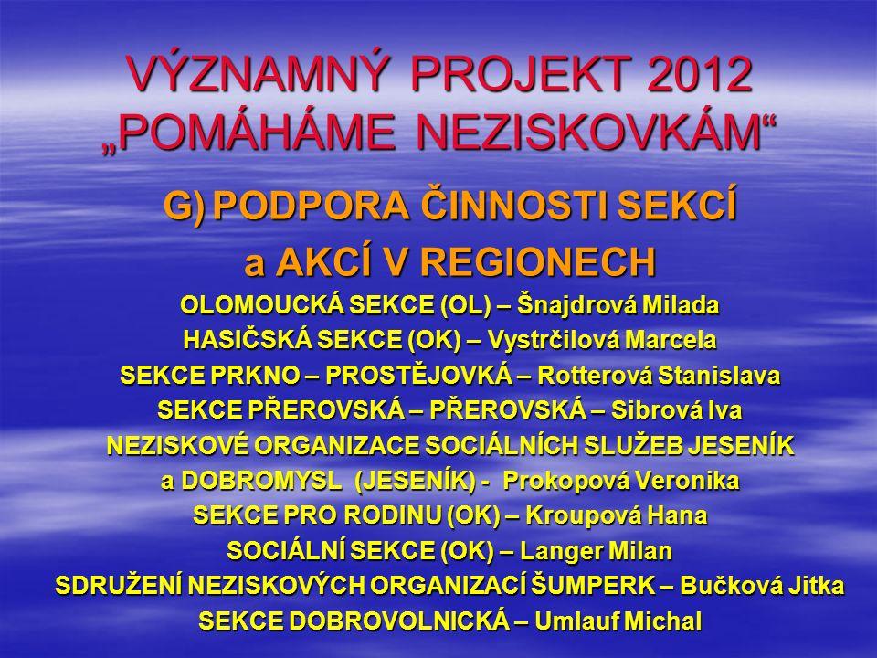 """VÝZNAMNÝ PROJEKT 2012 """"POMÁHÁME NEZISKOVKÁM"""" G)PODPORA ČINNOSTI SEKCÍ a AKCÍ V REGIONECH OLOMOUCKÁ SEKCE (OL) – Šnajdrová Milada HASIČSKÁ SEKCE (OK) –"""