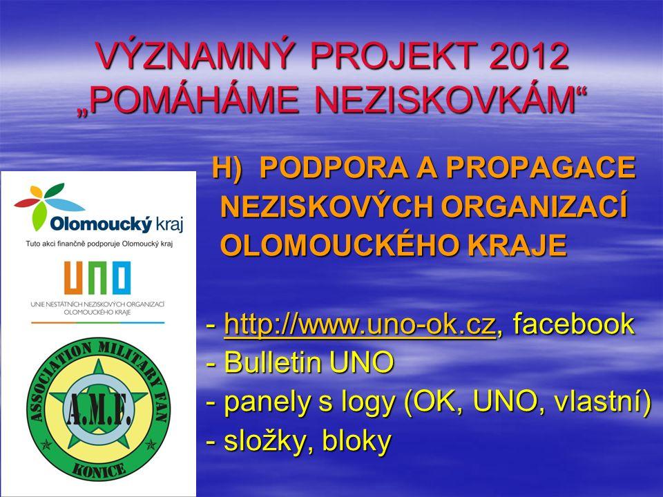 """VÝZNAMNÝ PROJEKT 2012 """"POMÁHÁME NEZISKOVKÁM"""" H) PODPORA A PROPAGACE H) PODPORA A PROPAGACE NEZISKOVÝCH ORGANIZACÍ NEZISKOVÝCH ORGANIZACÍ OLOMOUCKÉHO K"""