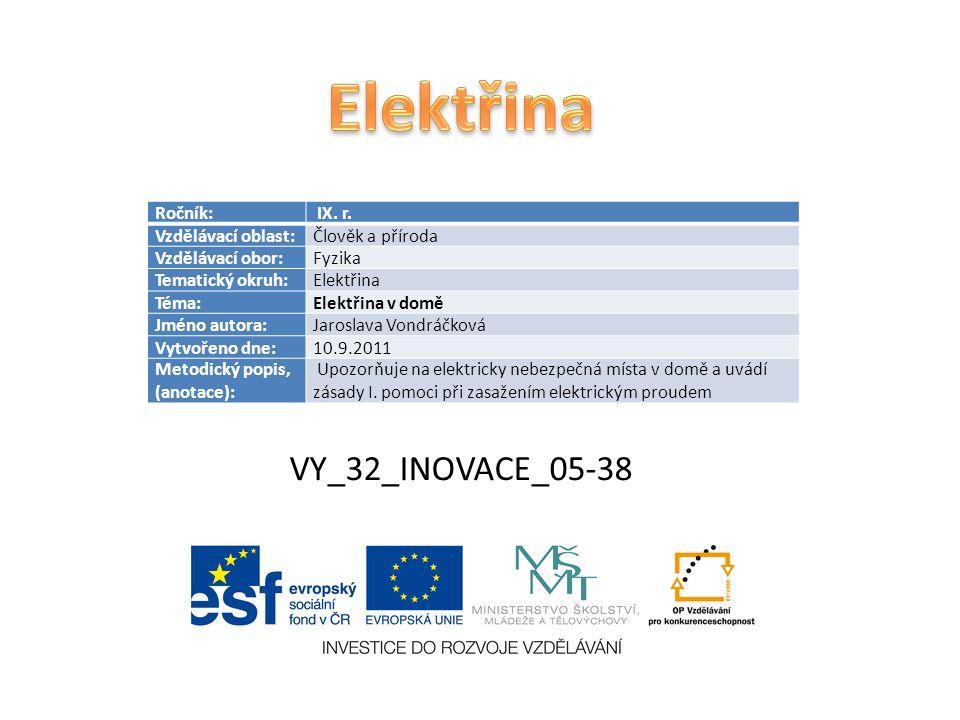 VY_32_INOVACE_05-38 Ročník: IX. r. Vzdělávací oblast:Člověk a příroda Vzdělávací obor:Fyzika Tematický okruh:Elektřina Téma:Elektřina v domě Jméno aut