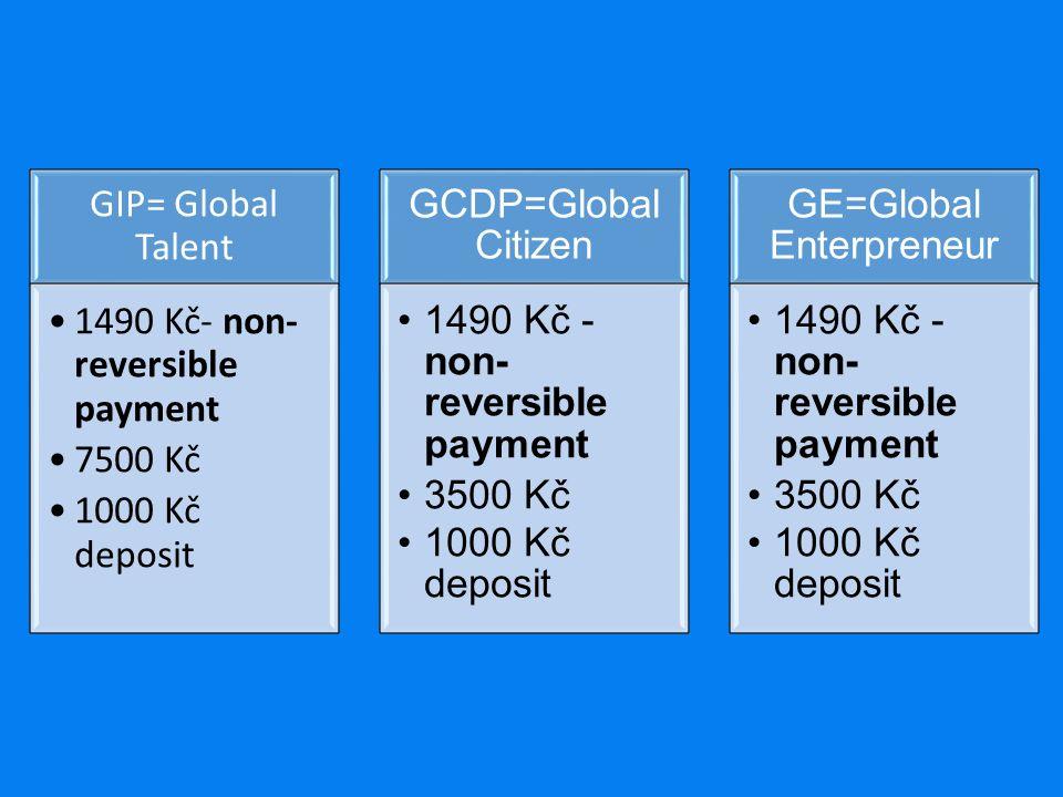 GIP= Global Talent 1490 Kč- non- reversible payment 7500 Kč 1000 Kč deposit GCDP=Global Citizen 1490 Kč - non- reversible payment 3500 Kč 1000 Kč deposit GE=Global Enterpreneur 1490 Kč - non- reversible payment 3500 Kč 1000 Kč deposit