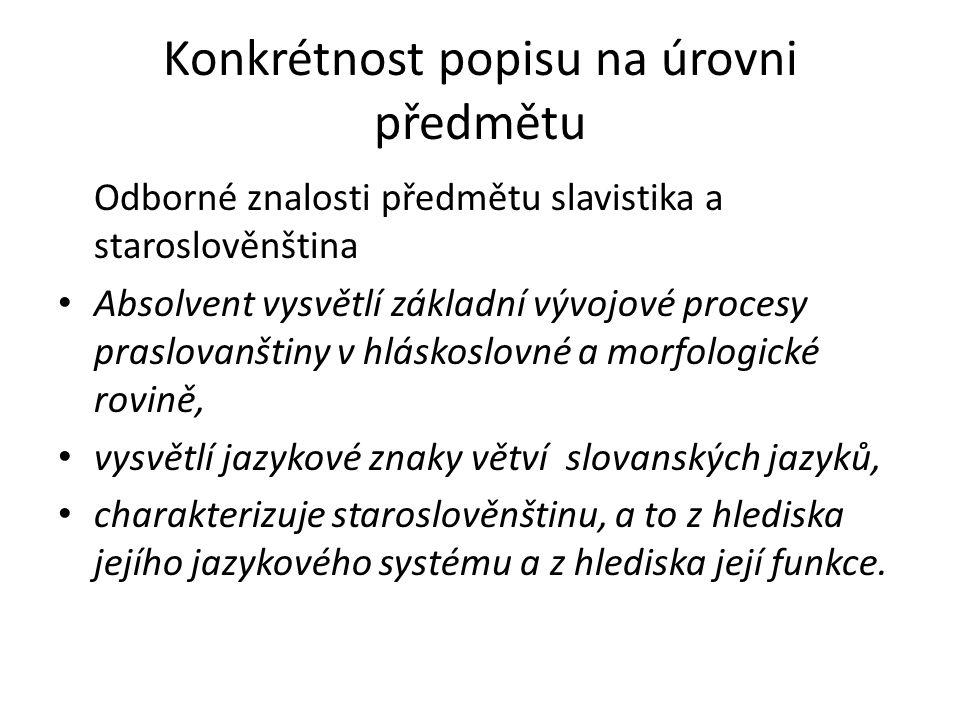 Konkrétnost popisu na úrovni předmětu Odborné znalosti předmětu slavistika a staroslověnština Absolvent vysvětlí základní vývojové procesy praslovanštiny v hláskoslovné a morfologické rovině, vysvětlí jazykové znaky větví slovanských jazyků, charakterizuje staroslověnštinu, a to z hlediska jejího jazykového systému a z hlediska její funkce.