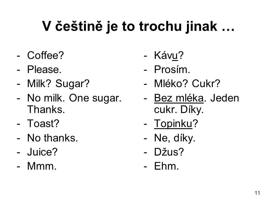 11 V češtině je to trochu jinak … -Coffee? -Please. -Milk? Sugar? -No milk. One sugar. Thanks. -Toast? -No thanks. -Juice? -Mmm. -Kávu? -Prosím. -Mlék