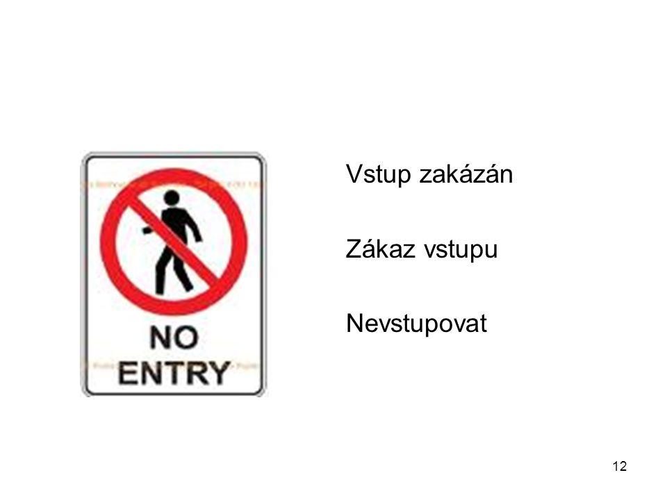 12 Vstup zakázán Zákaz vstupu Nevstupovat