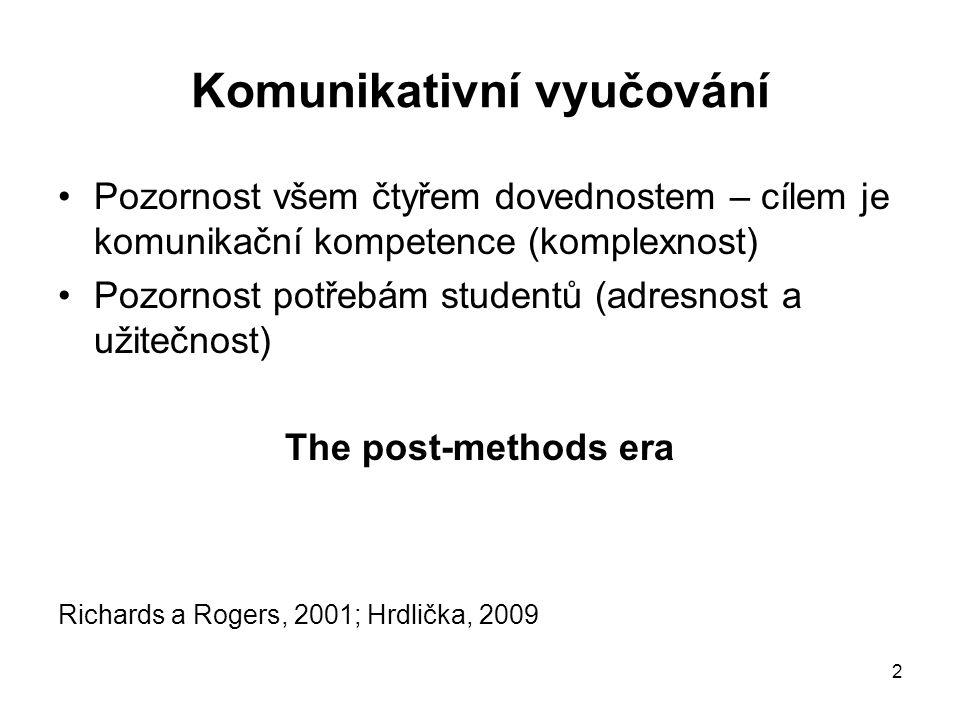 2 Komunikativní vyučování Pozornost všem čtyřem dovednostem – cílem je komunikační kompetence (komplexnost) Pozornost potřebám studentů (adresnost a užitečnost) The post-methods era Richards a Rogers, 2001; Hrdlička, 2009