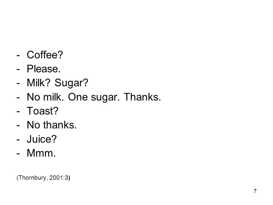 7 -Coffee? -Please. -Milk? Sugar? -No milk. One sugar. Thanks. -Toast? -No thanks. -Juice? -Mmm. (Thornbury, 2001:3)