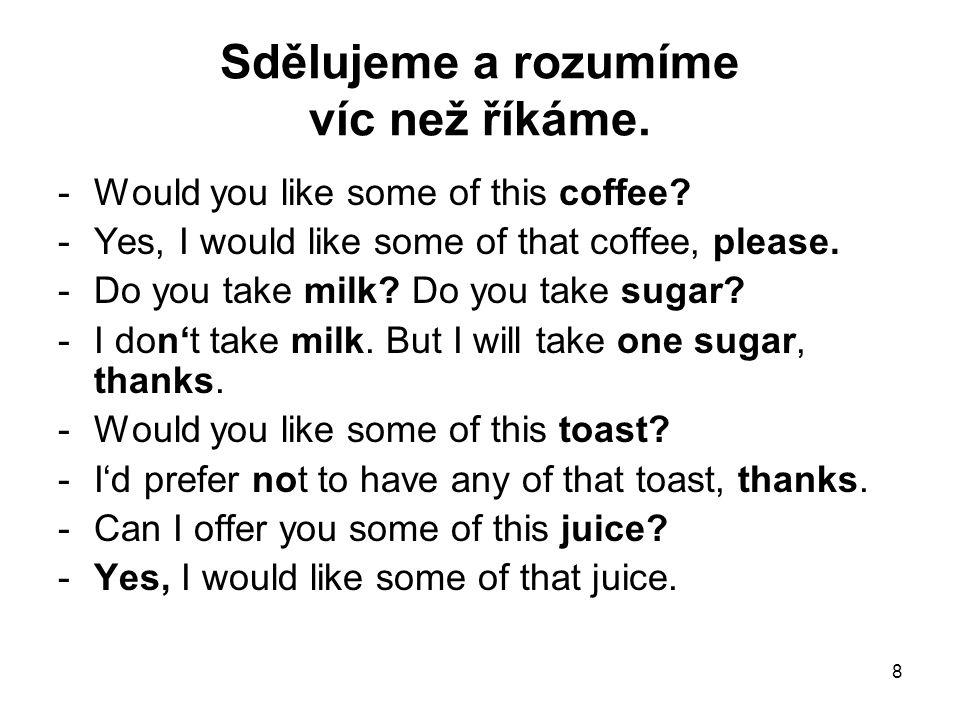 8 Sdělujeme a rozumíme víc než říkáme. -Would you like some of this coffee? -Yes, I would like some of that coffee, please. -Do you take milk? Do you
