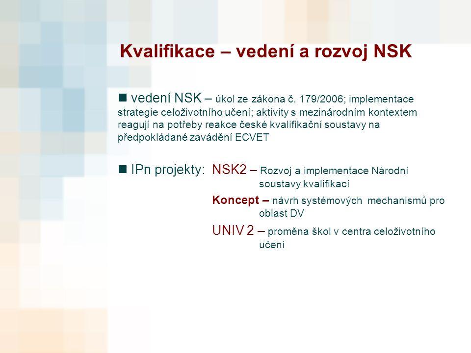 Kvalifikace – vedení a rozvoj NSK vedení NSK – úkol ze zákona č.
