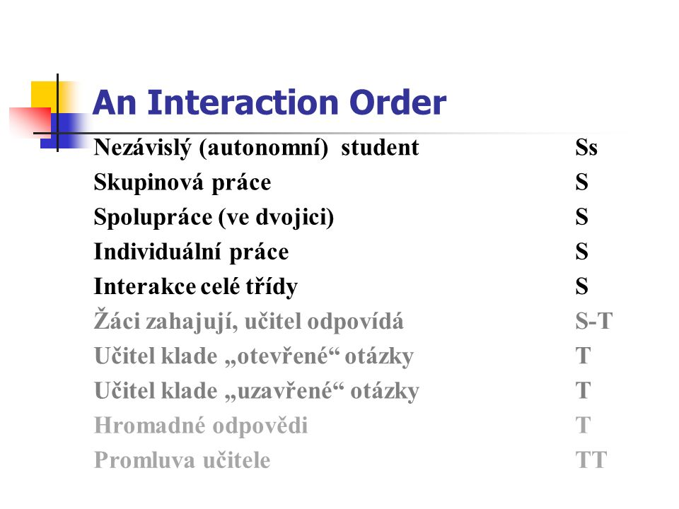 An Interaction Order Nezávislý (autonomní) studentSs Skupinová práceS Spolupráce (ve dvojici)S Individuální práceS Interakce celé třídyS Žáci zahajují