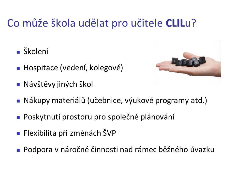 CLIL Co může škola udělat pro učitele CLILu? Školení Hospitace (vedení, kolegové) Návštěvy jiných škol Nákupy materiálů (učebnice, výukové programy at