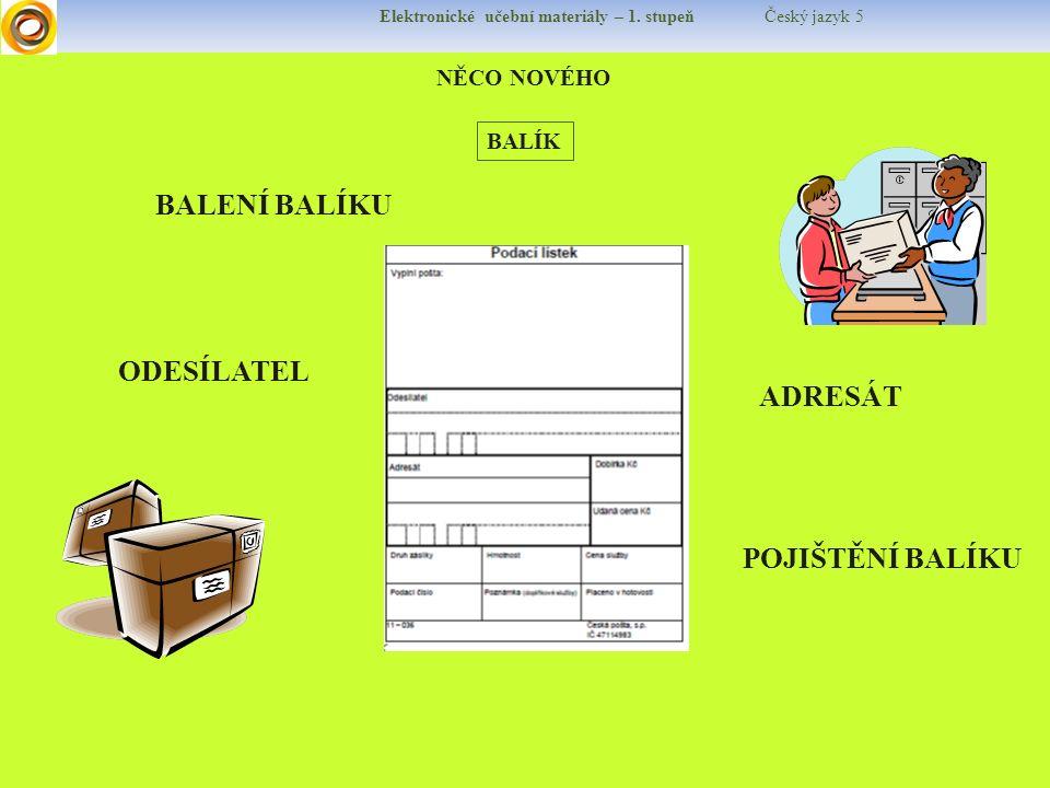 Elektronické učební materiály – 1. stupeň Český jazyk 5 NĚCO NOVÉHO BALÍK ODESÍLATEL ADRESÁT POJIŠTĚNÍ BALÍKU BALENÍ BALÍKU