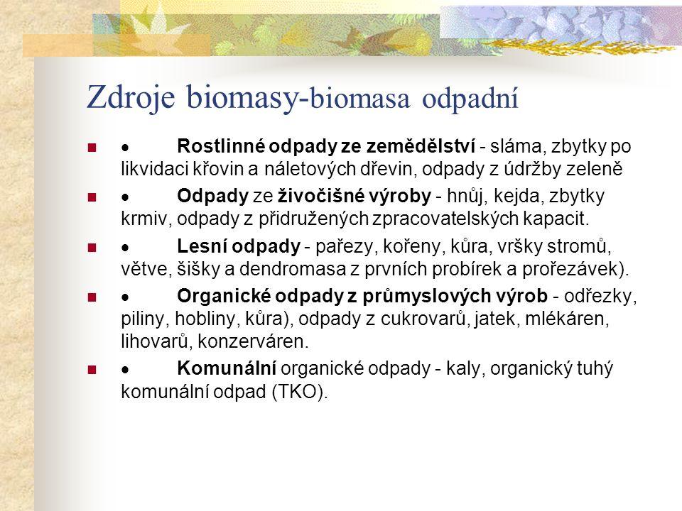 Zdroje biomasy- biomasa odpadní  Rostlinné odpady ze zemědělství - sláma, zbytky po likvidaci křovin a náletových dřevin, odpady z údržby zeleně  Od