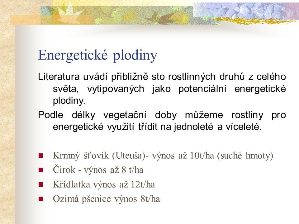 Energetické plodiny Literatura uvádí přibližně sto rostlinných druhů z celého světa, vytipovaných jako potenciální energetické plodiny.