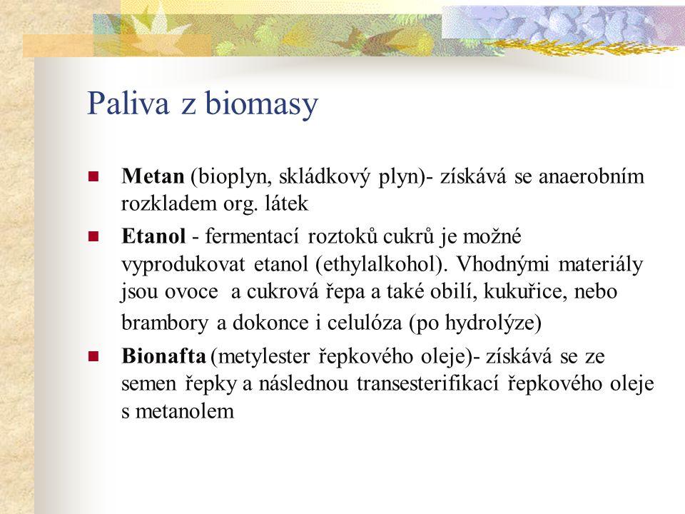 Paliva z biomasy Metan (bioplyn, skládkový plyn)- získává se anaerobním rozkladem org.