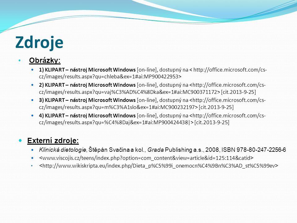 Zdroje Obrázky: 1) KLIPART – nástroj Microsoft Windows [on-line], dostupný na 2) KLIPART – nástroj Microsoft Windows [on-line], dostupný na [cit.2013-9-25] 3) KLIPART – nástroj Microsoft Windows [on-line], dostupný na [cit.2013-9-25] 4) KLIPART – nástroj Microsoft Windows [on-line], dostupný na [cit.2013-9-25] Externí zdroje: Klinická dietologie, Štěpán Svačina a kol., Grada Publishing a.s., 2008, ISBN 978-80-247-2256-6