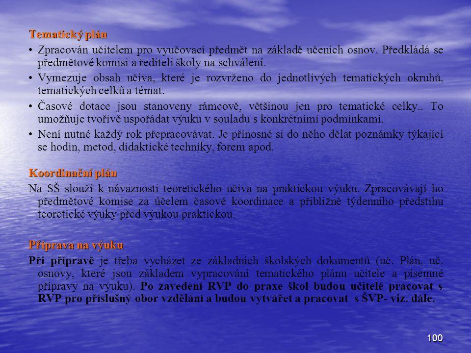 100 Tematický plán Zpracován učitelem pro vyučovací předmět na základě učeních osnov.