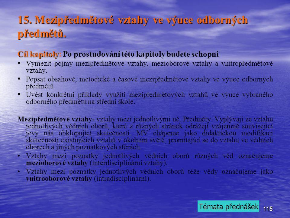 115 15. Mezipředmětové vztahy ve výuce odborných předmětů.