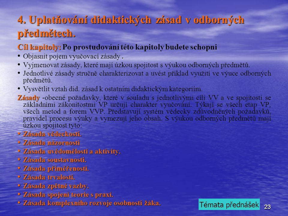 23 4. Uplatňování didaktických zásad v odborných předmětech.