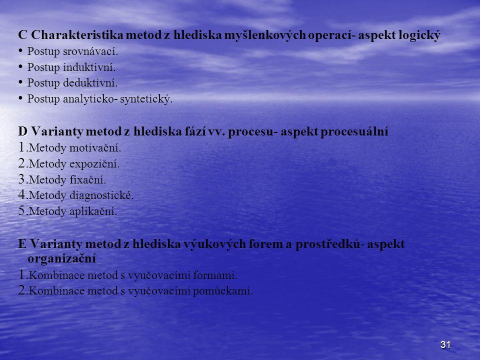 31 C Charakteristika metod z hlediska myšlenkových operací- aspekt logický Postup srovnávací.
