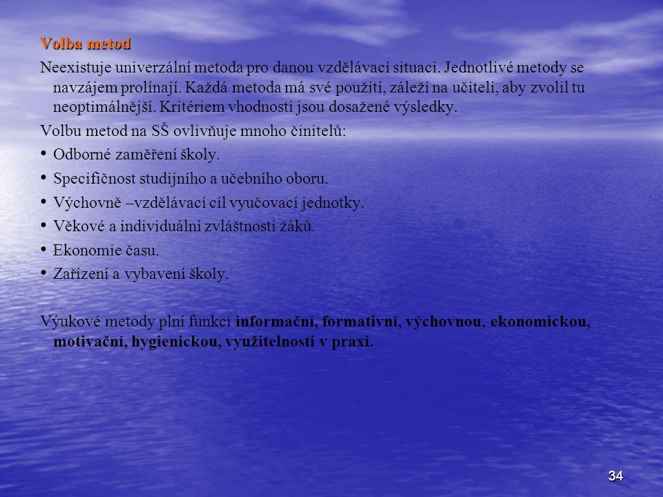 34 Volba metod Neexistuje univerzální metoda pro danou vzdělávací situaci.