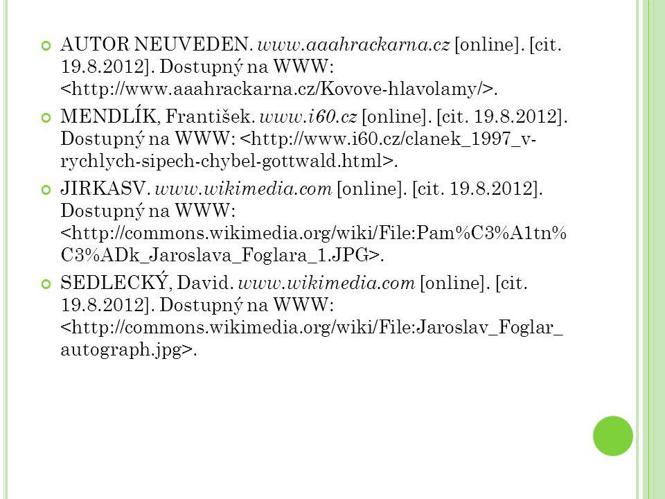 AUTOR NEUVEDEN. www.aaahrackarna.cz [online]. [cit. 19.8.2012]. Dostupný na WWW:. MENDLÍK, František. www.i60.cz [online]. [cit. 19.8.2012]. Dostupný