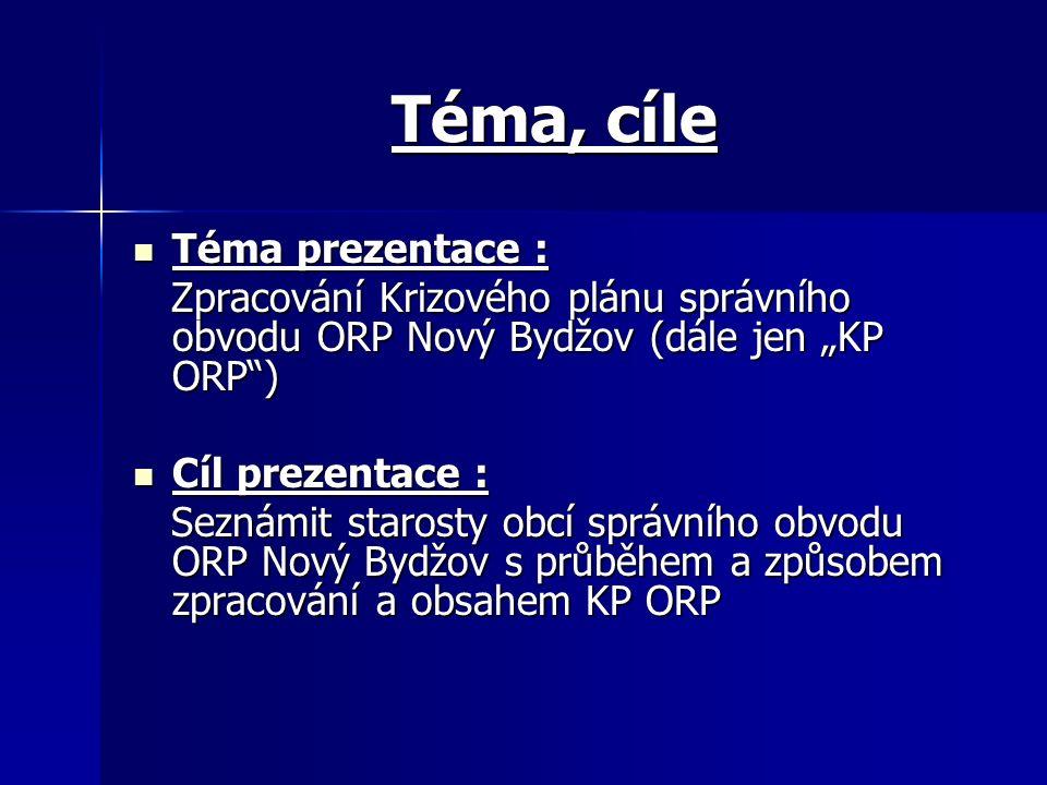 """Téma, cíle Téma prezentace : Téma prezentace : Zpracování Krizového plánu správního obvodu ORP Nový Bydžov (dále jen """"KP ORP"""") Zpracování Krizového pl"""