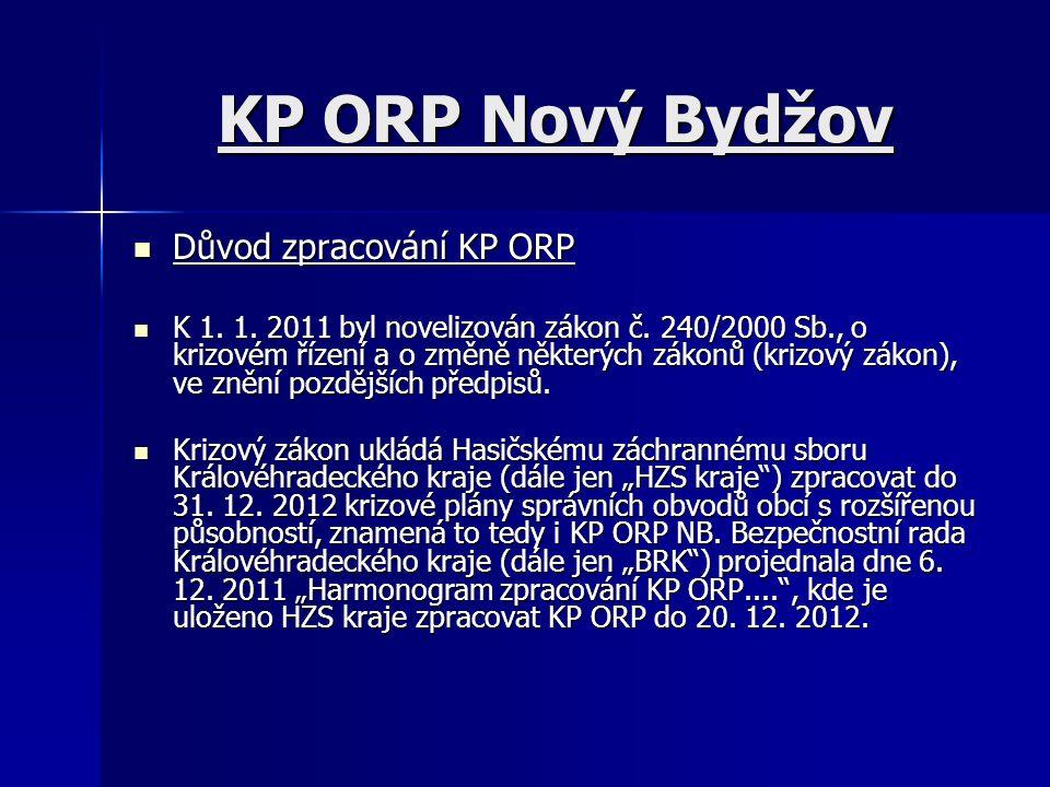 KP ORP Nový Bydžov Důvod zpracování KP ORP Důvod zpracování KP ORP K 1. 1. 2011 byl novelizován zákon č. 240/2000 Sb., o krizovém řízení a o změně něk