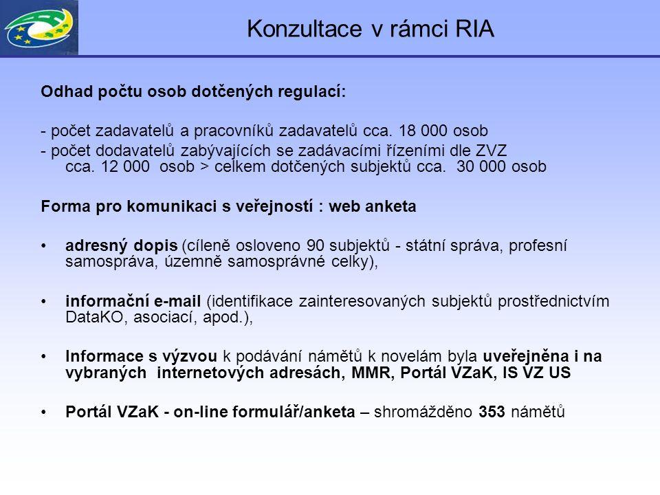 Konzultace v rámci RIA Odhad počtu osob dotčených regulací: - počet zadavatelů a pracovníků zadavatelů cca. 18 000 osob - počet dodavatelů zabývajícíc