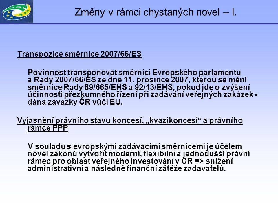 Změny v rámci chystaných novel – I. Transpozice směrnice 2007/66/ES Povinnost transponovat směrnici Evropského parlamentu a Rady 2007/66/ES ze dne 11.