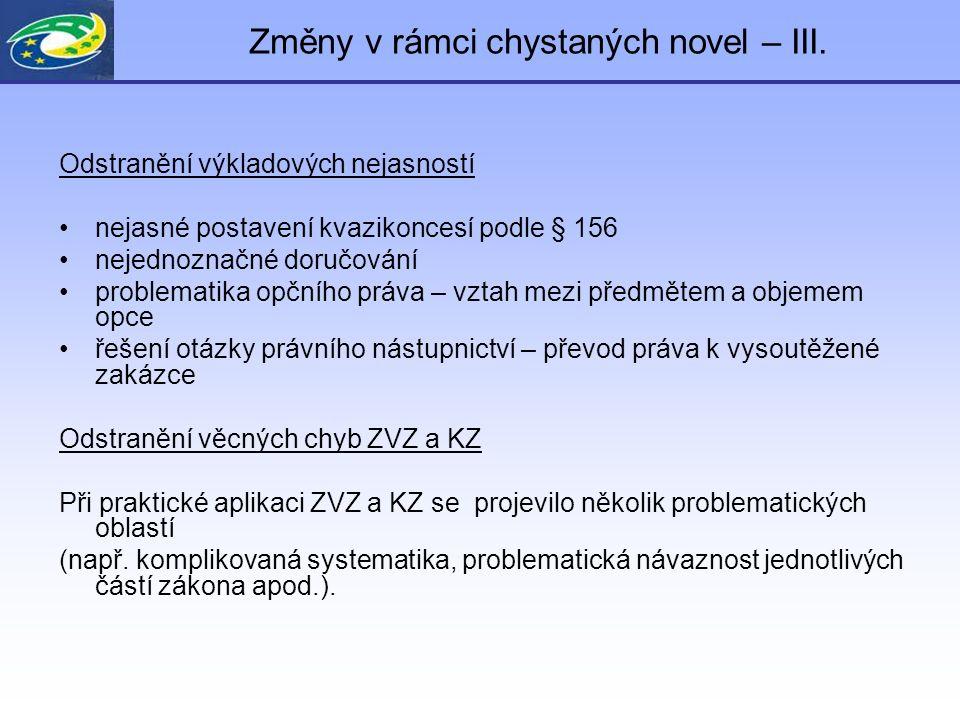 Změny v rámci chystaných novel – III.