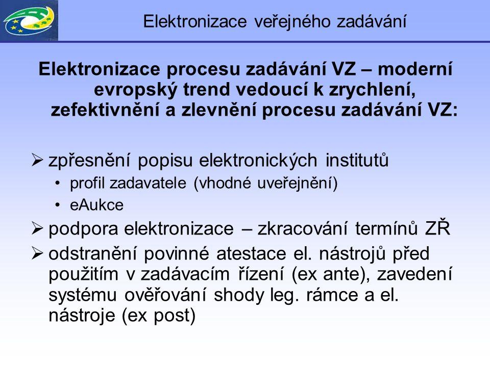 Elektronizace veřejného zadávání Elektronizace procesu zadávání VZ – moderní evropský trend vedoucí k zrychlení, zefektivnění a zlevnění procesu zadáv
