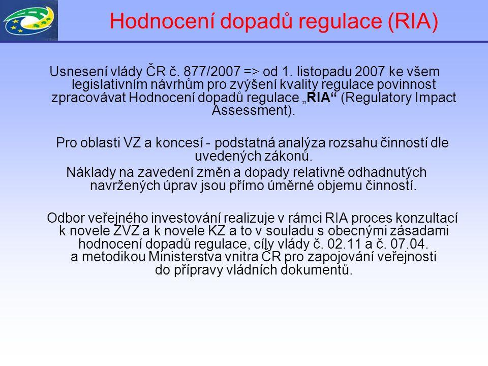 Hodnocení dopadů regulace (RIA) Usnesení vlády ČR č. 877/2007 => od 1. listopadu 2007 ke všem legislativním návrhům pro zvýšení kvality regulace povin