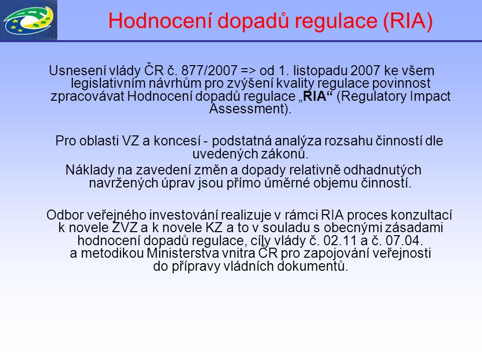 2. a) Konzultace v rámci RIA