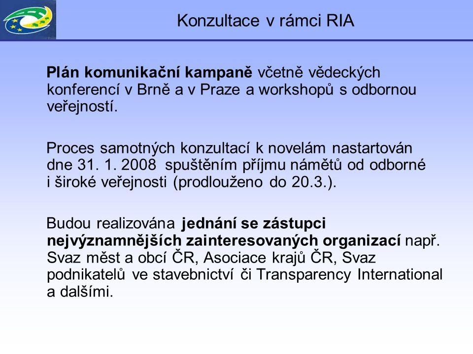 Konzultace v rámci RIA Odhad počtu osob dotčených regulací: - počet zadavatelů a pracovníků zadavatelů cca.