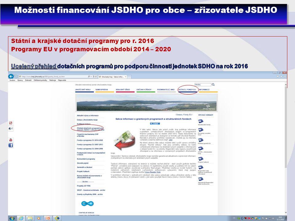 8 Možnosti financování JSDHO pro obce – zřizovatele JSDHO