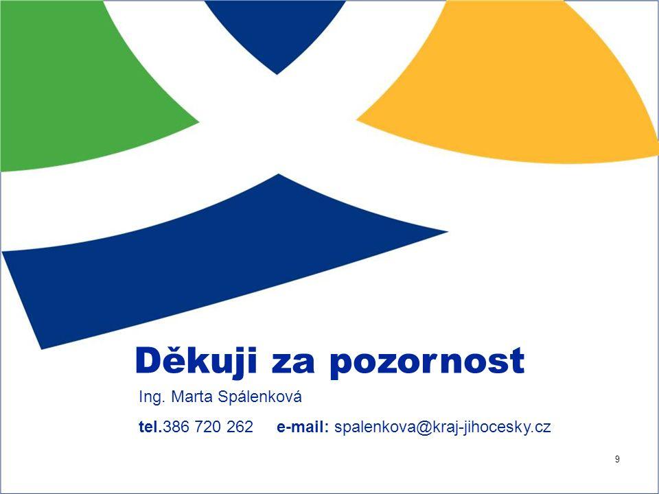 9 Děkuji za pozornost Ing. Marta Spálenková tel.386 720 262 e-mail: spalenkova@kraj-jihocesky.cz