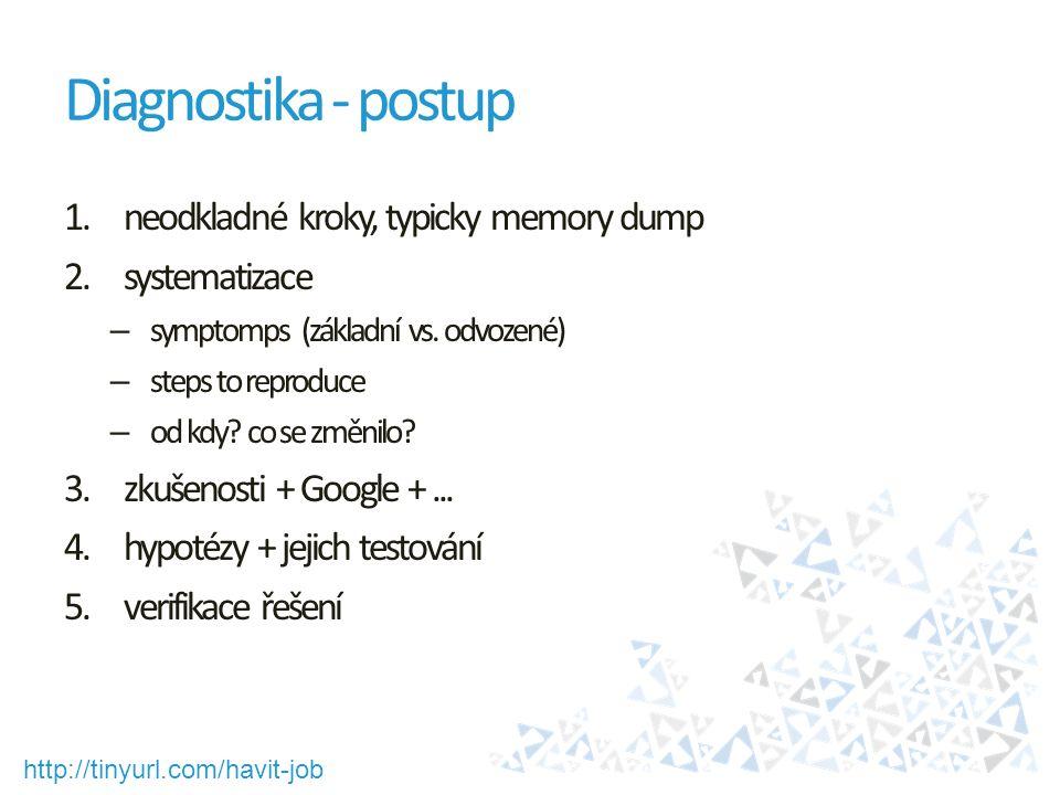 http://tinyurl.com/havit-job Diagnostika - postup 1.neodkladné kroky, typicky memory dump 2.systematizace – symptomps (základní vs. odvozené) – steps