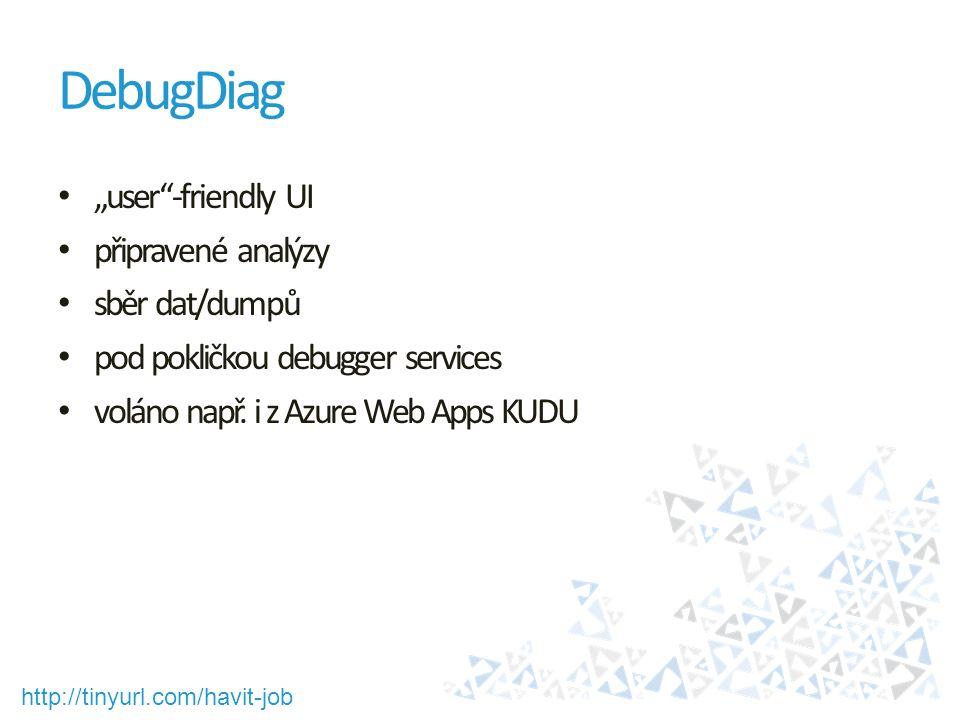 """http://tinyurl.com/havit-job DebugDiag """"user""""-friendly UI připravené analýzy sběr dat/dumpů pod pokličkou debugger services voláno např. i z Azure Web"""