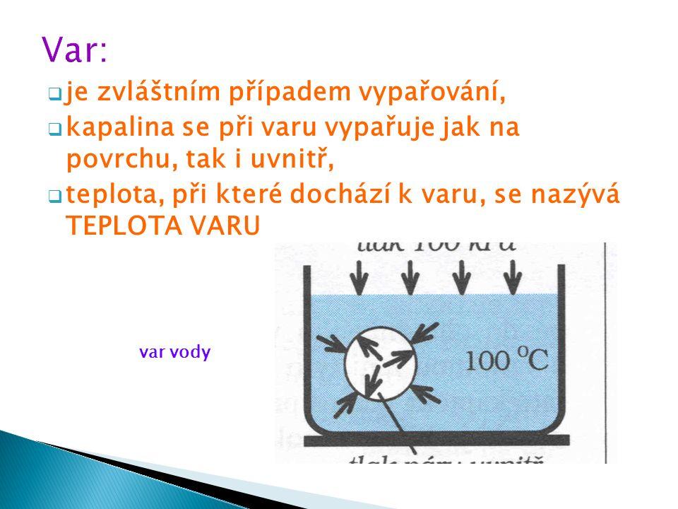 Teplo, které musíme kapalině dodat, abychom ji při teplotě varu přeměnili na plyn téže teploty, nazýváme: SKUPENSKÉ TEPLO VARU (značka L v, jednotka J, kJ) K porovnání, kolik tepla musíme při teplotě varu dodat 1 kg různých kapalin k přeměně na plyn, zavádíme: MĚRNÉ SKUPENSKÉ TEPLO VARU (značka l v, jednotka kJ/kg)