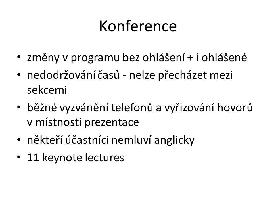 Konference změny v programu bez ohlášení + i ohlášené nedodržování časů - nelze přecházet mezi sekcemi běžné vyzvánění telefonů a vyřizování hovorů v místnosti prezentace někteří účastníci nemluví anglicky 11 keynote lectures